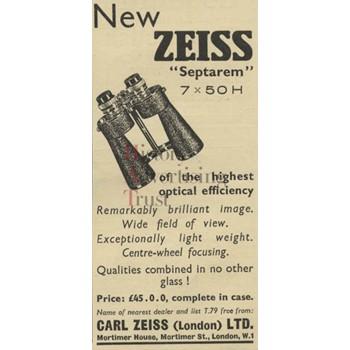 Press advertisement: Zeiss Septarem | Catalogue | History of